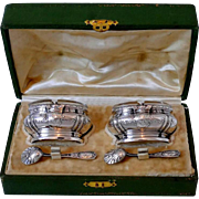 Lefebre French Sterling Silver 18-Karat Gold Salt Cellars Pair, Spoons, Box