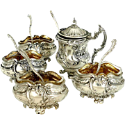 Rare French Sterling Silver 18k Gold Condiment Set, Salt Cellars 4 pc, Mustard Pot, Spoons