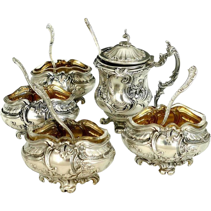 Rare French Sterling Silver 18k Gold Condiment Set, Salt Cellars, Mustard Pot