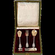 French 18k Gold Sterling Silver Dessert Set, Box, Asian Bleeding-Heart Flowers