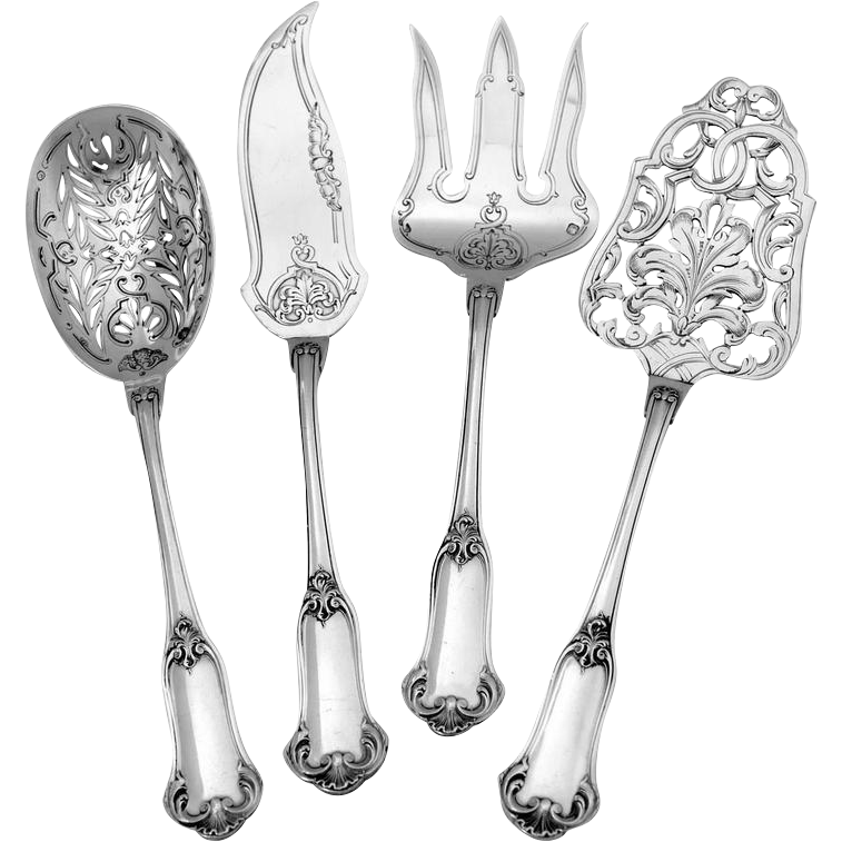 Puiforcat French All Sterling Silver Dessert Hors d'Oeuvre set 4 pc original box
