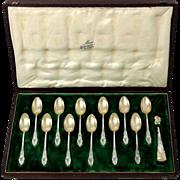 French Sterling Silver 18-Karat Gold Tea Dessert Spoons Set, Sugar Tongs, Iris