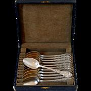 Boulenger French Silver Tea Coffee Dessert Spoons Set 12 pc, Cocoa bean, Box