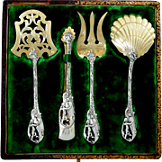 Masterpiece French Sterling Silver 18k Gold Dessert Hors D'oeuvres Set 4 pc, Original box, Cherub