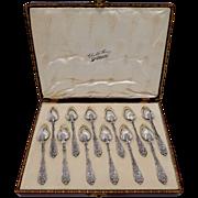 Puiforcat Rare French Sterling Silver Tea Dessert Spoons Set 12 pc, Original Box, Renaissance