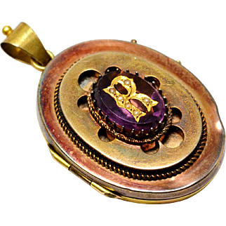 Antique Victorian 10k gold amethyst seed pearl initial 'R' locket pendant