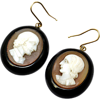 Antique Victorian Whitby Jet carved shell man and woman cameo earrings
