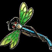 Antique Art Nouveau 900 silver signed green plique a jour enamel dragonfly brooch