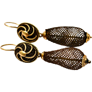 Antique Victorian gold filled day night mourning woven hair earrings