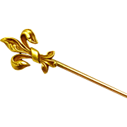 Antique Victorian Whiteside and Blank 14k gold hallmarked fleur de lis stick pin