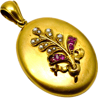 Antique Victorian large gold filled pearl ruby paste floral bouquet oval locket pendant