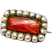 Antique Georgian small 10k gold red enamel seed pearl brooch pin