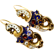 Antique Victorian French 14k gold white blue enamel ruby scroll shaped earrings