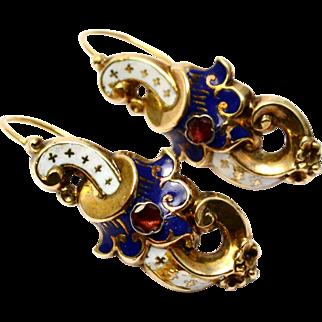 Antique Victorian French 14k gold white blue enamel ruby scroll shaped earrings