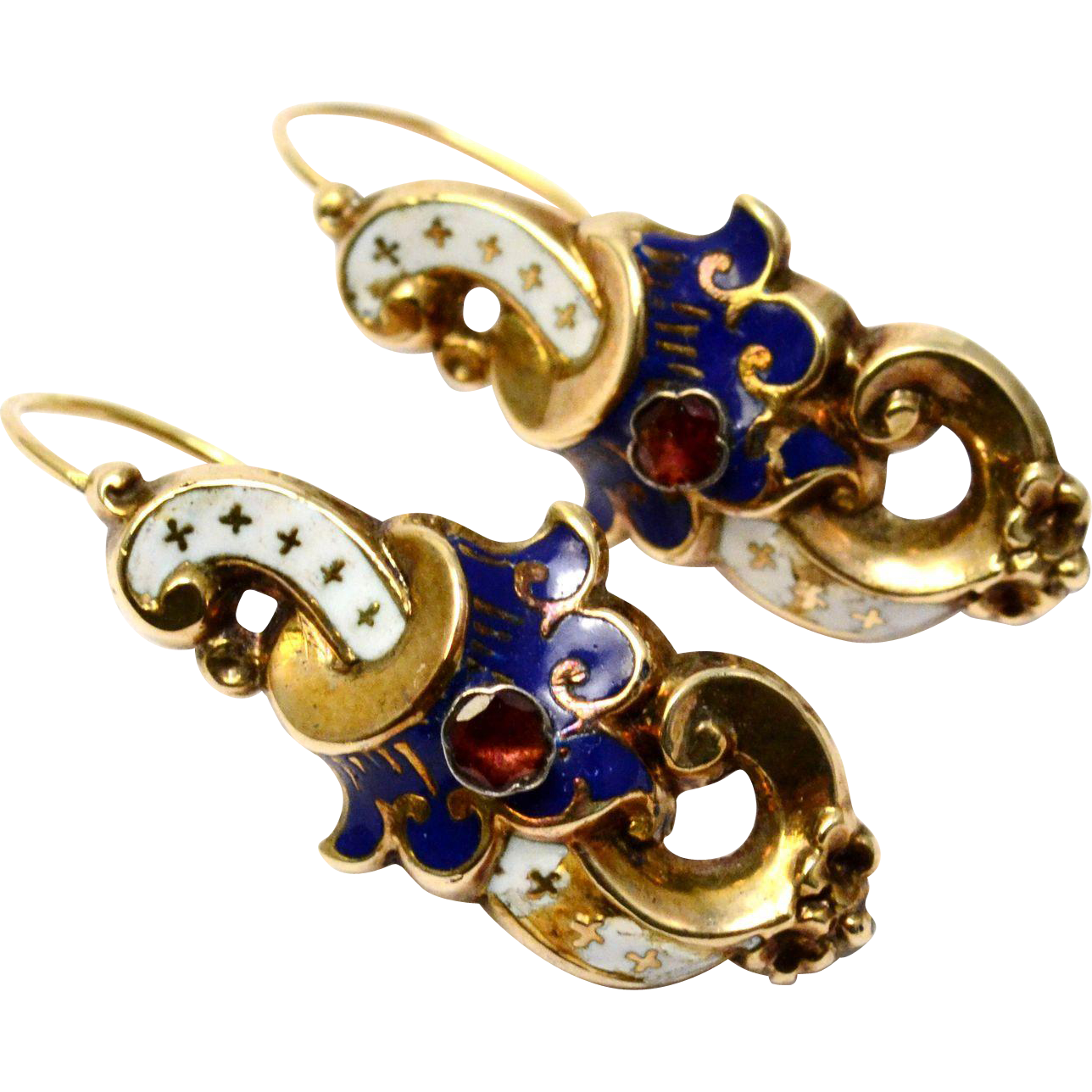 Antique Victorian French 14k gold white blue enamel garnet scroll shaped earrings