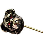 Antique Victorian sterling silver topped red glass eye bulldog stick pin