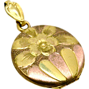 Antique Victorian Bliss Brothers signed yellow and rose gold filled floral locket pendant