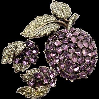 Vintage Trifari 'Alfred Philippe' purple rhinestone articulated apple brooch and earrings set