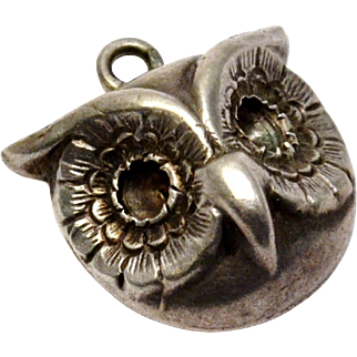 Antique Victorian sterling silver raised owl face charm