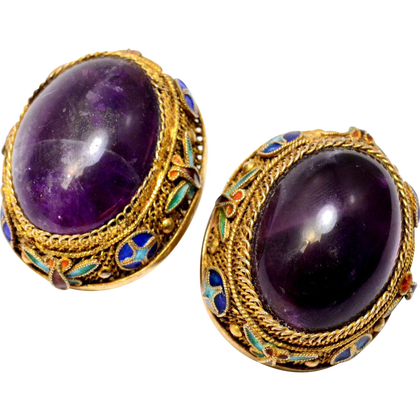 Vintage Chinese enamel gold washed silver oval amethyst cabochon clip on earrings