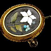Antique Victorian 14k gold framed floral pietra dura mourning brooch pin