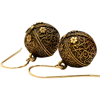 Antique Victorian 10k gold Etruscan Revival balls gold filled wire earrings