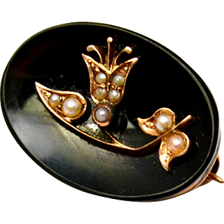 Antique Victorian small 14k gold onyx seed pearl floral oval brooch pin