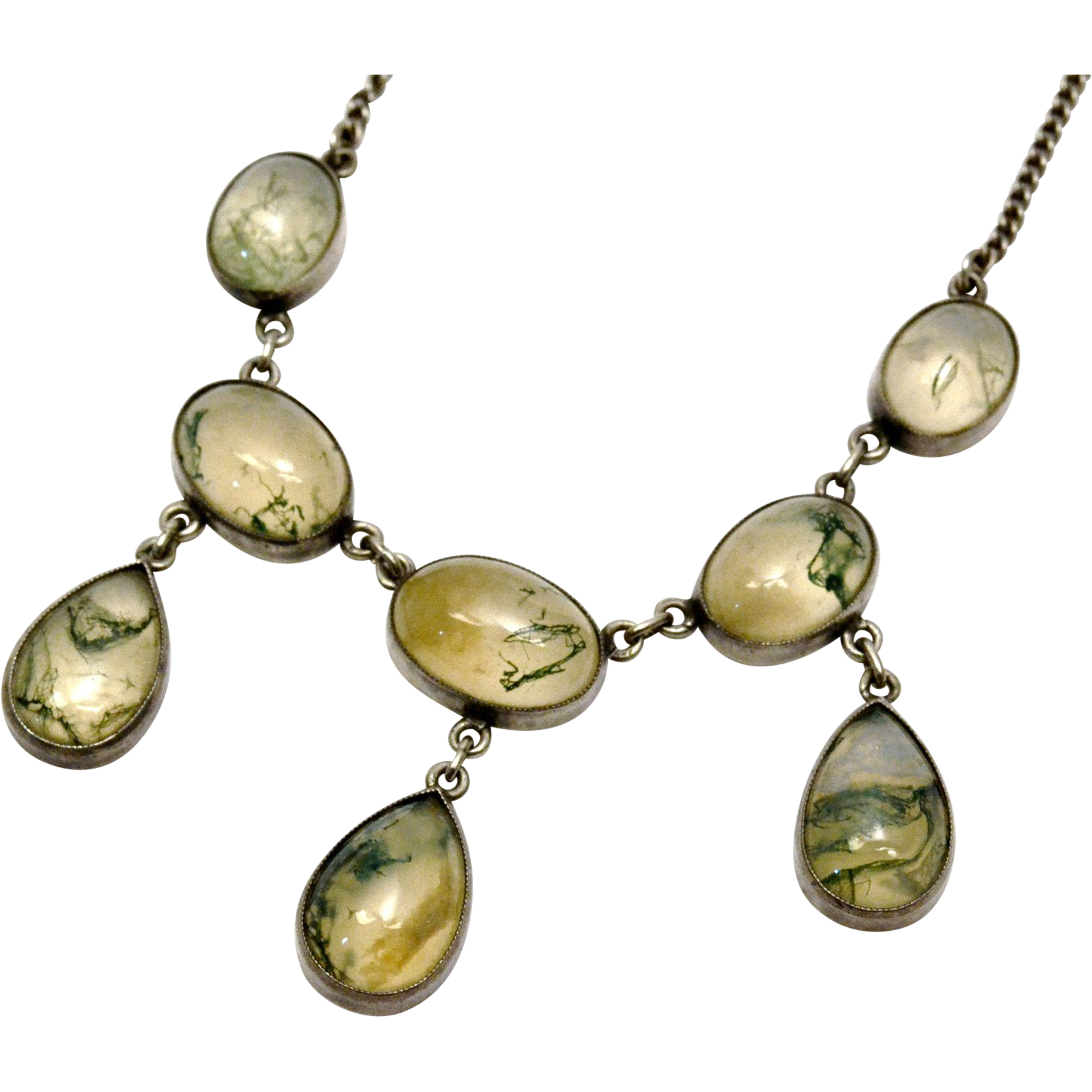 moss silver bib pin bar necklace pendant tree agate