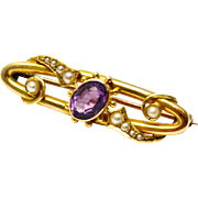 Antique Victorian 15ct gold hallmarked amethyst seed pearl bar pin brooch