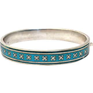 Antique Victorian French silver sky blue enamel hinged bangle bracelet
