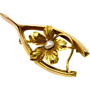 Antique Victorian 10k gold pearl centered flower wishbone brooch