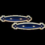 Antique Victorian Whiteside and Blank 14k gold hallmarked white blue guilloche enamel lingerie pin brooch set