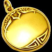 Antique Art Nouveau 10k gold Hayden Wheeler signed repousse locket pendant