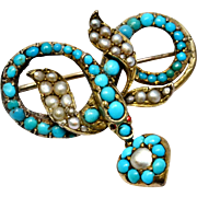 Antique Victorian gold washed silver pave turquoise pearl snake and heart locket dangle brooch pin