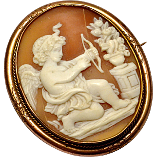 Antique Victorian large carved shell cameo Cupid or Eros gold filled frame brooch