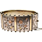 Antique Victorian 1880 English hallmarked sterling silver 9ct gold floral wide hinged bangle bracelet