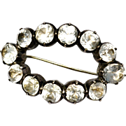 Antique Georgian sterling silver cushion cut clear paste oval converted buckle brooch pin
