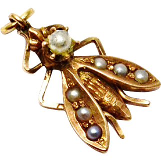 Antique Victorian small 10k gold seed pearl fly insect charm