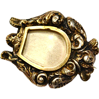 Antique Georgian 10k gold scroll repousse lyre shaped locket front mourning brooch pin