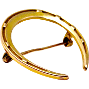 ON HOLD FOR Susan... Antique Victorian 10k gold horseshoe brooch pin