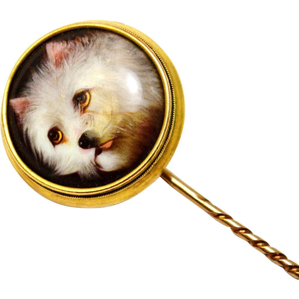 Antique Victorian William Essex 1858 signed 14k gold painted enamel 'Impudence' white terrier dog stick pin