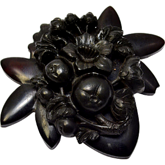 Antique Victorian vulcanite black floral mourning brooch pin