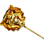 Antique Victorian 14k gold enamel diamond ruby glass eyes tiger stick pin