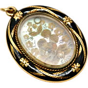 Antique Victorian 14k gold black enamel floral hair work scene on mother of pearl pendant locket