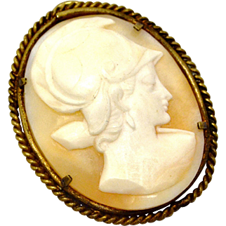 Antique Victorian carved shell warrior woman cameo brass framed pendant