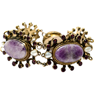 Antique Austro-Hungarian 750 silver hallmarked amethyst paste pearl bracelet