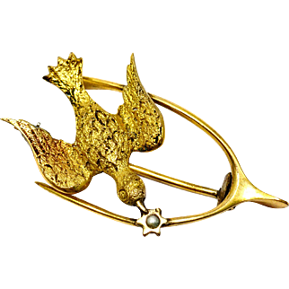 Antique Victorian gold filled pearl wishbone and bird brooch pin
