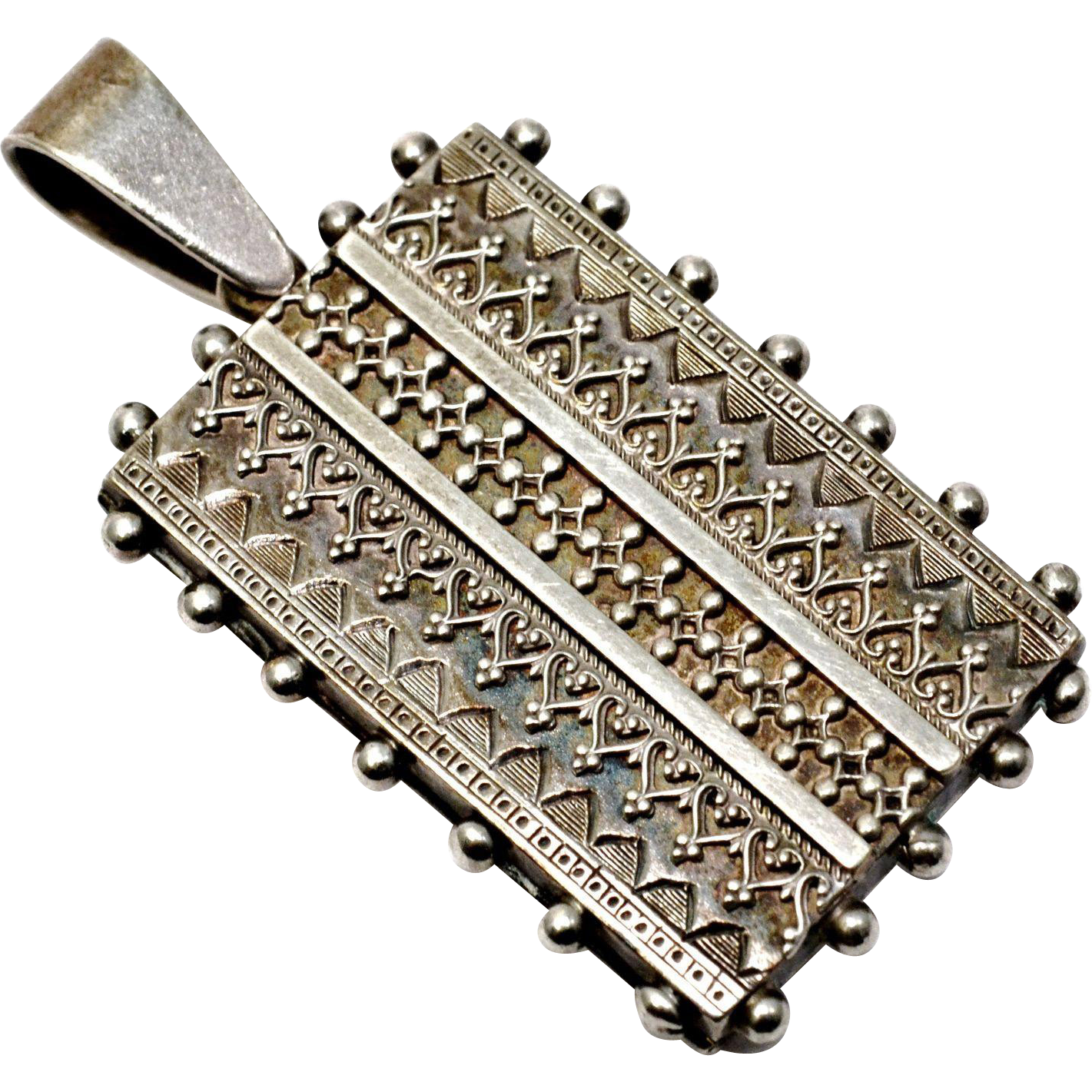 Antique Victorian sterling silver Aesthetic era etched book locket pendant