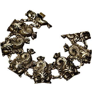 Vintage 1930s sterling silver hallmarked Renaissance dolphin panel bracelet