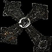 Antique Georgian large Berlin Iron cherub cross pendant brooch pin